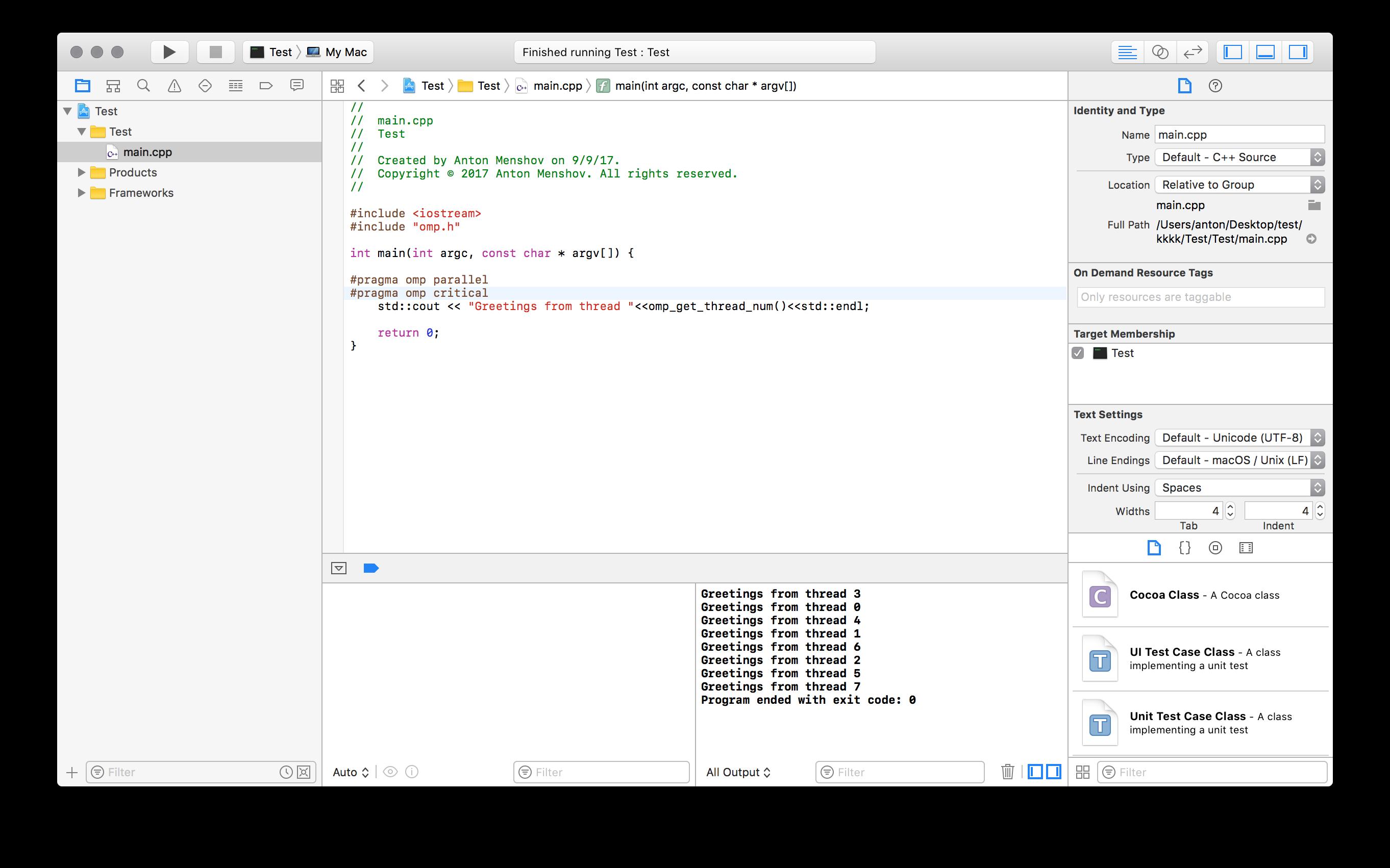 Clang + OpenMP Setup in Xcode – Anton Menshov